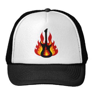 Black Electric Guitar On Fire Trucker Hats