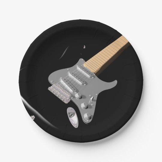 Black Electric Guitar Paper Plates | Zazzle.com