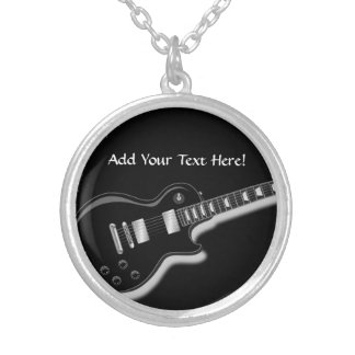 Black Electric Guitar Personalized Music Necklace