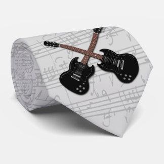 Black Electric Guitar Sheet Music Tie