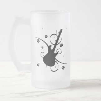 Black Electric Guitar with Floral Pattern Frosted Glass Beer Mug