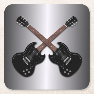 Black Electric Guitars Boys Room coasters Square Paper Coaster
