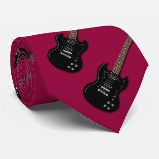 Black Electric Guitars Musicians Burgundy Tie