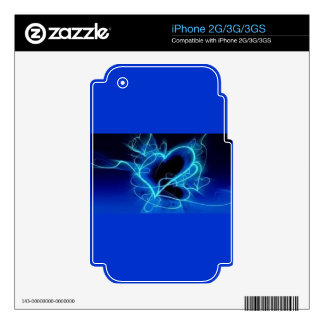 BLACK ELECTRIC ROYAL BLUE AQUA HEART SMOKE SHAPES DECAL FOR iPhone 3GS