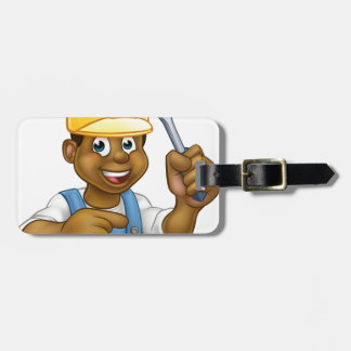 Black Electrician Handyman With Screwdriver Bag Tag
