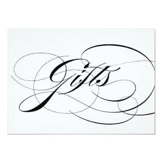 Black Elegant Calligraphy Wedding Gifts Sign Card