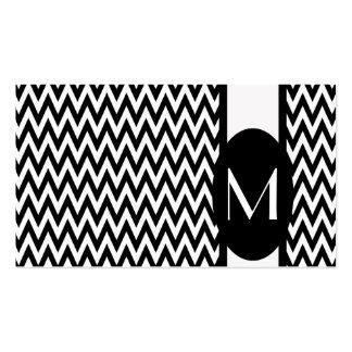 Black Elegant Chevron Monogram Business Card