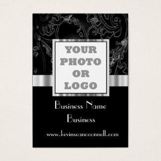 Black elegant  damask business card