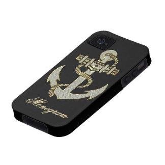 Black, Elegant Diamonds & Gold  Nautical Anchor Vibe iPhone 4 Case