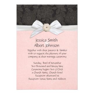 Black Elegant Floral Ribbon Damask Wedding Invite