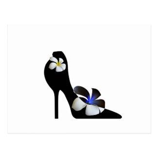 Black elegant high-heeled shoes. Fantasy of high f Postcard