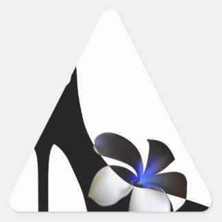 Black elegant high-heeled shoes. Fantasy of high f Triangle Sticker