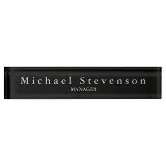 Black Elegant Modern Desk Nameplate