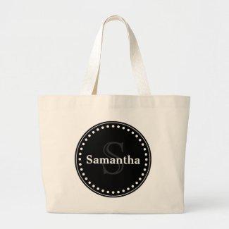 Black elegant monogram jumbo tote bag