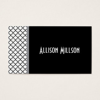 Black Elegant Quatrefoil Custom Name A14A Business Card