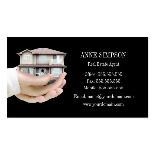 Black Elegant Real Estate Agent Business Card