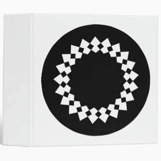 Black Elegant Round Design. Art Deco Style. 3 Ring Binder