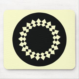 Black Elegant Round Design. Art Deco Style. Mouse Pad