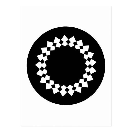 Black Elegant Round Design. Art Deco Style. Postcard