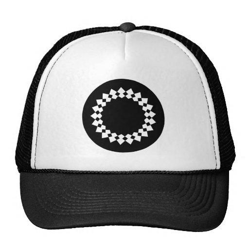 Black Elegant Round Design. Art Deco Style. Trucker Hat