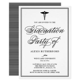 Black Elegant Script Medical School Graduation Card