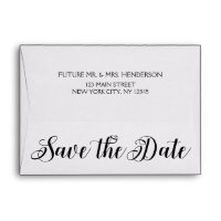Black Elegant Script Save the Date Envelope