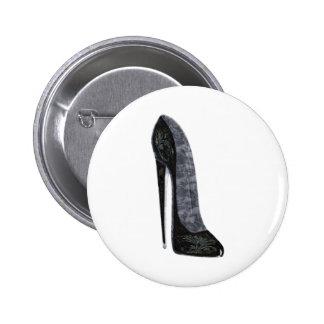 Black Elegant Stiletto High Heel Shoe Art Button
