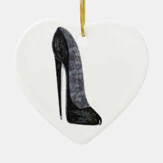 Black Elegant Stiletto High Heel Shoe Art Ceramic Ornament
