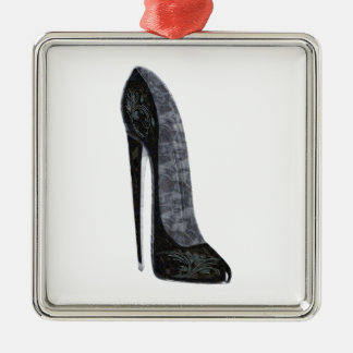 Black Elegant Stiletto High Heel Shoe Art Metal Ornament