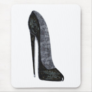 Black Elegant Stiletto High Heel Shoe Art Mouse Pad
