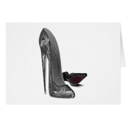 Black Elegant Stiletto Shoe Art Card