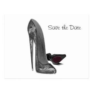 Black Elegant Stiletto Shoe Art Postcard