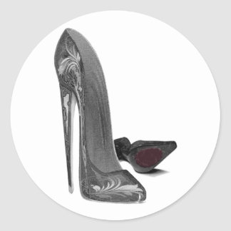 Black Elegant Stiletto Shoes High Heel Art Classic Round Sticker
