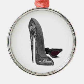 Black Elegant Stiletto Shoes High Heel Art Metal Ornament