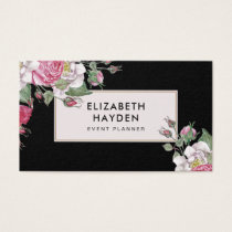 Black elegant vintage Floral business card