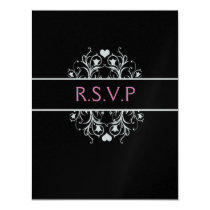 black elegant wedding RSVP Card