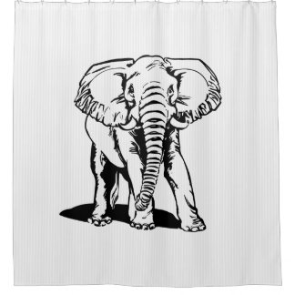 black elephant and white stripes shower curtain