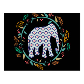 Black Elephant Folk Gypsy Hippie Boho Friendship Postcard
