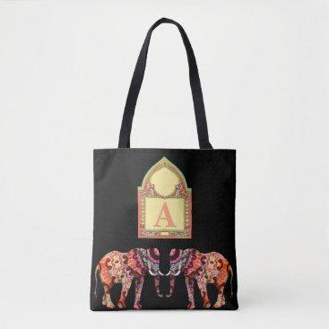 Beach Themed Black Elephant Tote Bag