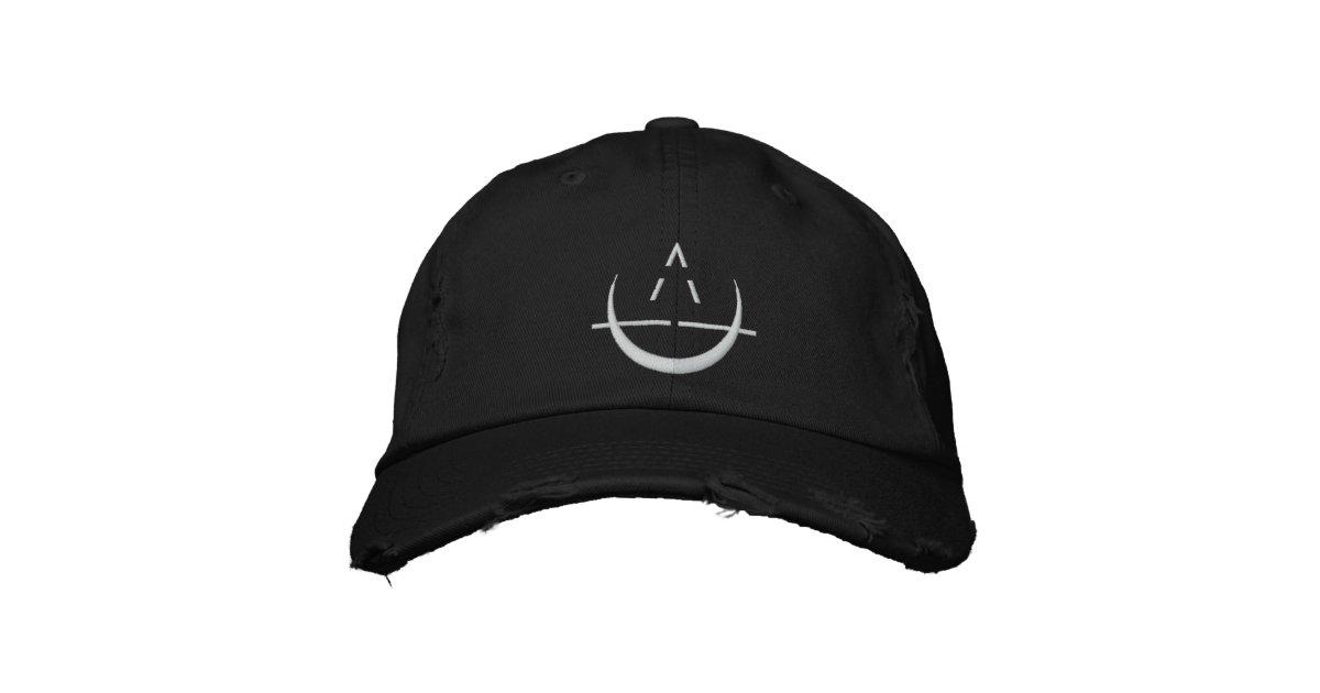 Black ELOSIN Moon Symbol Distressed Baseball Hat | Zazzle com