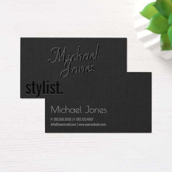 Black Embossed Look Stylist Business Business Card