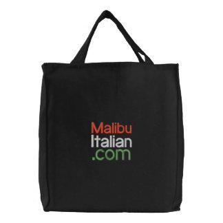 Black Embroidered Malibuitalian.com Canvas Bags