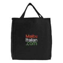 Black Embroidered Malibuitalian.com Embroidered Tote Bag