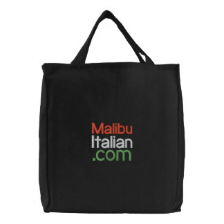 Black Embroidered Malibuitalian.com Embroidered Tote Bag
