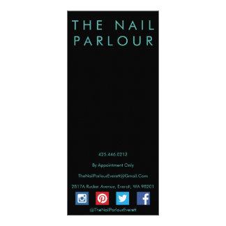 Black & Emerald Glitter Nail Salon Menu Cards Rack Cards