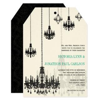 Black Emerald Green Damask Chandeliers Wedding Card