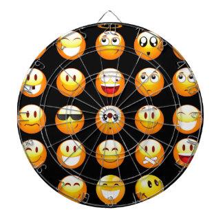 black emojis dartboard with darts
