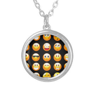 black emojis silver plated necklace
