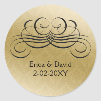 black envelope seal round sticker