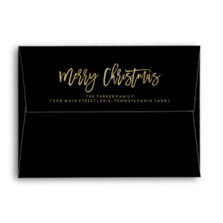 Black Envelope with Faux Gold | Merry Christmas
